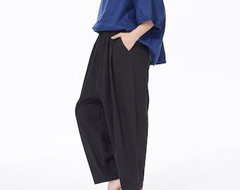 Wide Leg Cotton Linen Pants For Women Plus Size Pants With Pockets