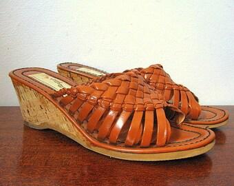 Vintage 70s Cork Wedge Brown Woven Slide Sandals Size