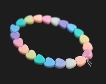 Pastel Rainbow Hearts Bracelet, Flower Bracelet, Pastel Goth Clothing, Kawaii Clothing, Fairy Kei Beaded Bracelet, Pastel Grunge, Rave Kandi