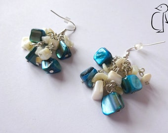 Natural and blue turquoise mother of pearl fragment cluster earrings