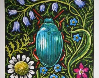 Beetle Dreams watercolor original gardening art reproduction natural history insect botanical home decor print