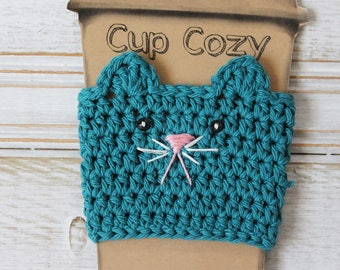 Ready to Ship: Turquoise Kitty Cup Cozy Crochet Cup Cozy Teal Cat Coffee Cozy Crochet Mug Cozy Reusable Cup Sleeve Stocking Stuffer Under 10
