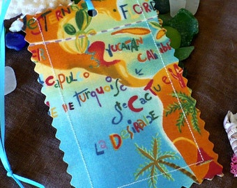 Deep Blue Sea, map, luggage tags, Orange, Turquoise,  laminated fabric, travel