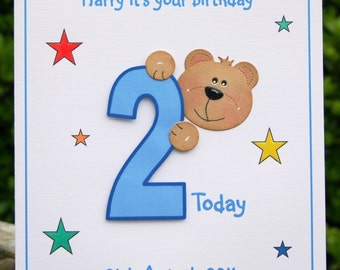 8th birthday card etsy personalised handmade bear 3d birthday card 1st 2nd 3rd 4th 5th bookmarktalkfo Choice Image
