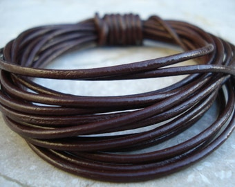 DARK BROWN Round Leather Cord 2mm Genuine Leather Cording 4 yards Dark CHOCOLATE, Great for Leather Wraps
