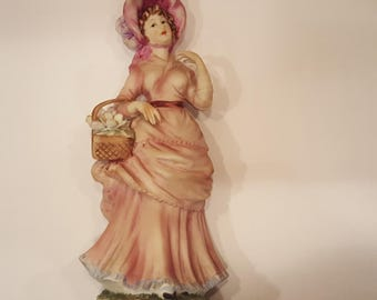 Lefton Figurine Woman in Pink Dress with basket of flowers KW3989
