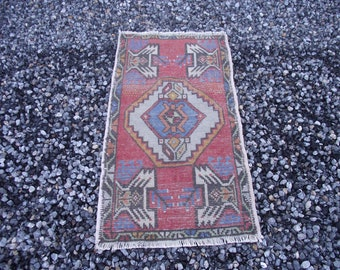 FREE SHIPPING!small turkish rug 3x1.7 ft Small Oushak Rug-Vintage Turkish Small Oushak Rug Doormat