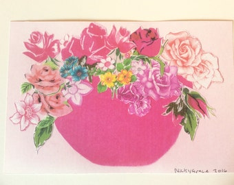 Limited edition print, Summer flowers, Spring flowers, , vintage flowers, flower  print, flower collage, vase of flowers, pink bowl.