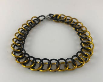 Sale 25% off Black and Yellow Half Persian Chainmaille Bracelet