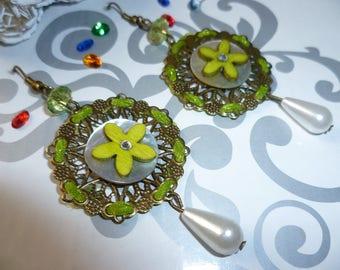 Earrings bronze Pearl and green