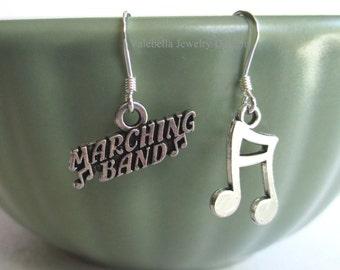 Ohrringe Marching Band Sterling Silber Musiknote baumeln Ohrringe Kinder zwischen Teen Schmuck Musiker Bohne Hinweis Band Geek Nerd Musik Geschenk