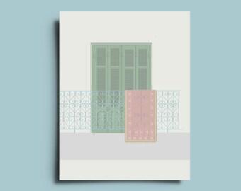 Balcony with kilim print-tribal minimalist Poster as a greetingcard/postcard/Wall Art/wall decor