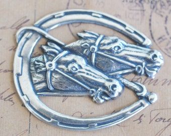 Brass Racing horses in horseshoe, Sterling Silver Finish, Brass Stampings and Jewelry Supplies Made in the USA