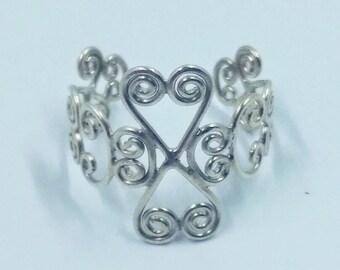 Sterling silver, adjustable filigree ring