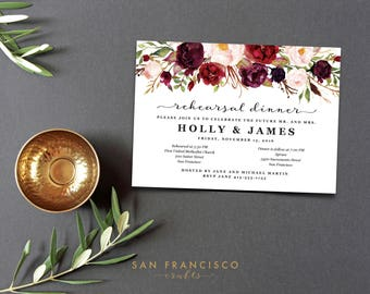 Rehearsal Dinner Invitation INSTANT DOWNLOAD |  Editable Invite Template - two versions, Marsala | Holly Collection | Printable PDF