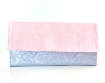 Blush pink wallet women, cash envelope wallet, ladies wallet, card wallet leather womens wallet, silver wallet clutch, wallet iphone 6