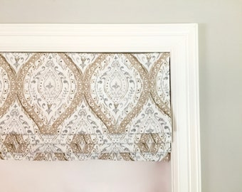 Faux (fake) flat roman shade valance. Your choice of fabric(up to 10 dollars/yd)! Custom Sizing. Magnolia Home Fashions Ariana Linen.