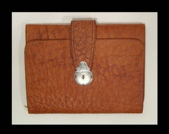 Dated 1914 toffee brown leather folding attache sales case w receipt blotter book ~ horse seller small briefcase ~ British Edwardian wallet