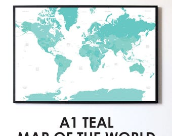 Teal & White A1 Minimalist Travelling Map of the World Print Wall Art Home Decor High Quality Poster