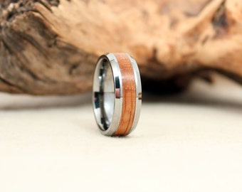 Wood Ring - Tungsten Carbide Ring with Bourbon Barrel Oak Stave