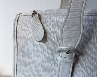 1960's textured white leather hand bag by Etra