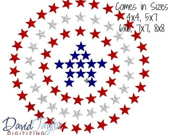 Patriotic Star Circle Embroidery Design 4x4, 5x7, 6x6, 7x7, 8x8 in 9 formats-Instant Download-David Taylor Digitizing