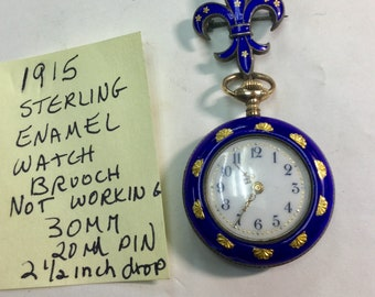1915 Sterling Enamel Watch Brooch  with Matching  Watch Not Running