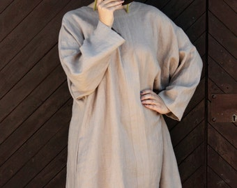Over-sized Linen Tunic Dress with Pockets