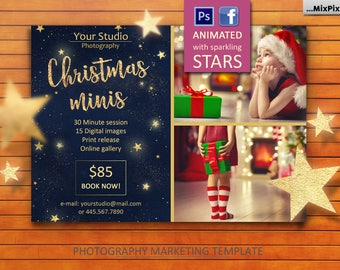 Animated Christmas Mini Session announcement Template - FACEBOOK Photography Marketing Board - Christmas Minis - Photoshop Template