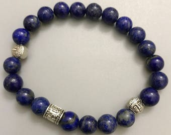 Yoga Bracelets ॐ Om Mani Padme Hum | Buddha | Lapis | Natural Gemstone | Healing Energy Karma Love | Luxury Organic Jewelry | Men's Women's