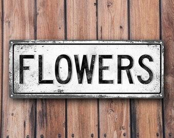 FLOWERS Metal Street Sign, Vintage, Retro    MEM2011