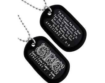 Grace/Faith/Christ - Dog Tag Necklace