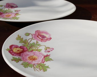Lovely Pair of Large Oval Knowles Poppy Platters