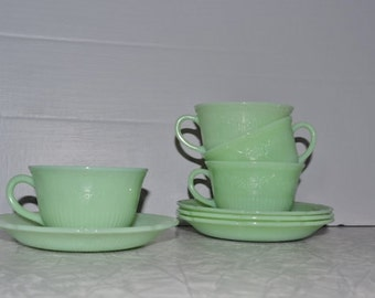 Fire King Jadeite Alice Cup Saucer Set of 4 ~ Green Fire King ~ Mint Tea Cup Set ~ Epsteam