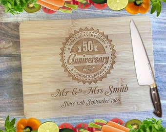 Anniversary Board - Personalised Engraved Bamboo Chopping Board