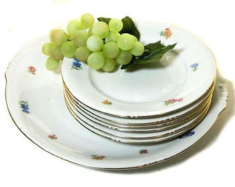 Seven Piece Vintage Bavarian Dessert Set for Six Tiny Flowers
