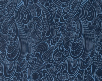 Making Waves in Navy pwtc030 - TRUE COLORS by Tula Pink for Free Spirit Fabrics - By the Yard