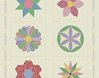 Aunt Grace Simple Sampler Floral   Cotton Quilt Fabric By the panel