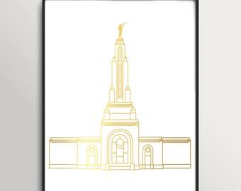 LDS Redlands California Temple Gold Foil Print
