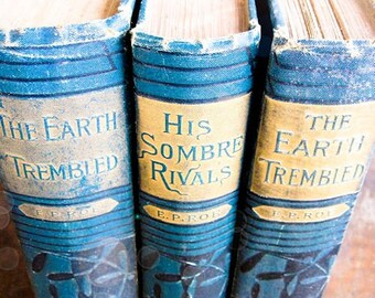 Three Hard Cover Antique Books - The Works of E.P. Roe, in Teal