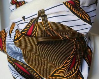 White and ocra ankara scarf