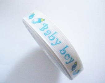 Printed baby Ribbon baby boy 15 mm