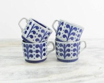 Boch Cappuccino Cups Demitasse Cups Gray Blue Stackable Ceramic Mugs Vintage Tea Cups Mid Century Dinnerware Boch Belgium La Louviera