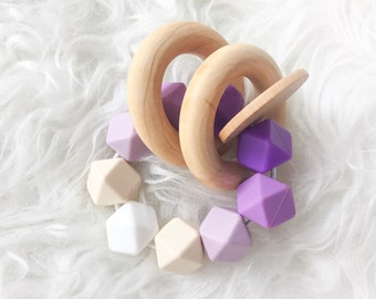 Wooden Teether Wooden teething toy Silicone Teething toy easter teether waldorf teething toy natural teether purple teether Montessori