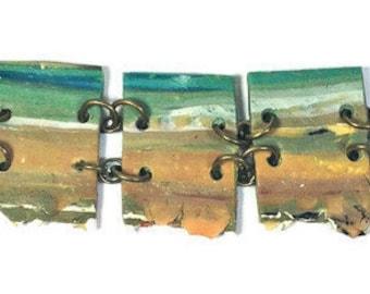 Ocean Bracelet, beach jewelry, bronze bracelet, picture jewelry, ovean, sea, beach, polymer clay