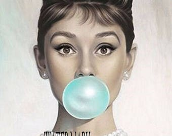 Audrey Hepburn GORGEOUS *One 8x10 fabric block.