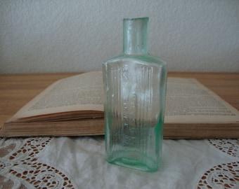 Antique English 1890's AQUA neon GREEN Glass POISON Not To Be Taken Bottle - Ribbed Glass - Victorian Chemist - Medicine Bottle