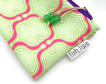 Hot Pink Geometric Recycled Zipper Pouch, Designer Cosmetics Bag + Glass Bead Tassel, Handmade Holiday Gift, Sustainably Printed, Magenta