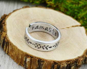Namaste Ring with Ferns - Yoga Jewelry - Floral Jewelry - Daily Inspiration