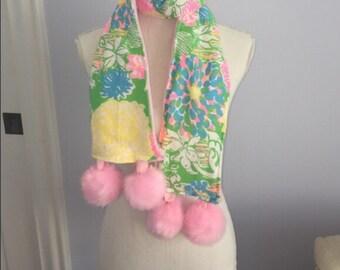 Hibiscus Stroll Lilly Pulitzer fabric Fleece Pompom Scarf